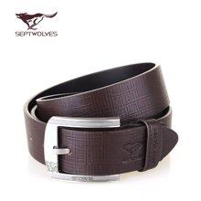 七匹狼SEPTWOLVES 男士皮带 牛皮时尚韩版针扣腰带 啡色7A1206300