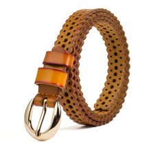 海谜璃(HMILY)二层牛皮女士皮带 时尚镂空带身女腰带 优雅百搭针扣腰链 H69