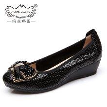 玛菲玛图 钻扣时尚蝴蝶结百搭女鞋压纹牛柒皮中跟坡跟单鞋0263-4