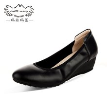 玛菲玛图 春款坡跟浅口圆头舒适单鞋女黑色职业工作鞋单鞋女0263-16