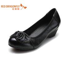 红蜻蜓女单鞋 蝴蝶结妈妈鞋中坡跟鞋子3510