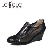 LESELE/莱思丽新款欧美时尚网纱坡跟牛皮女单鞋BC51-LA0560
