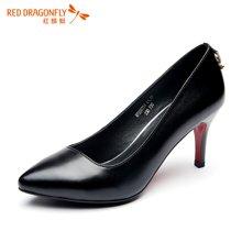 红蜻蜓女单鞋 气质通勤浅口尖头单鞋高跟鞋婚鞋5073