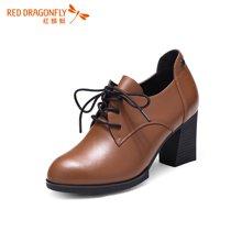 红蜻蜓女鞋正品时尚高跟系带深口高帮女单鞋5680