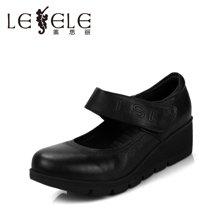 LESELE/莱思丽休闲舒适坡跟女单鞋 搭扣妈妈鞋KE15-LC136