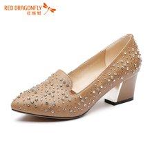 红蜻蜓女单鞋头层羊皮优雅奢华镶钻粗高跟鞋子4210