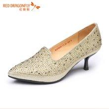 红蜻蜓女单鞋 正品网纹镶钻优雅尖头浅口高跟鞋子4980