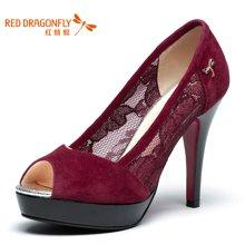 红蜻蜓女单鞋 正品女单鞋 时尚休闲鱼嘴镂空高跟女鞋子4018