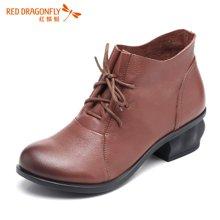 红蜻蜓女鞋 秋季新款正品系带圆头中高跟粗跟女单鞋5610