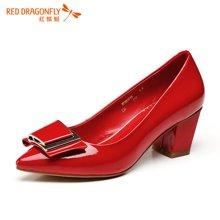 红蜻蜓女鞋 蝴蝶结优雅气质高跟粗跟女单鞋5201
