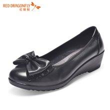红蜻蜓女鞋 蝴蝶结妈妈鞋高跟坡跟女单鞋5550
