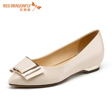 红蜻蜓女鞋 蝴蝶结正品浅口平底低跟女单鞋5202