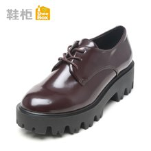 Pinkii/苹绮 shoebox鞋柜2016新款深口系带低跟纯色单鞋粗跟方跟防水台女鞋