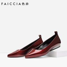 色非欧美新款尖头女鞋坡跟浅口漆皮单鞋百搭