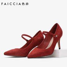色非新款欧美时尚高跟鞋休闲百搭细跟女鞋