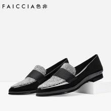 色非欧美新款尖头漆皮女鞋休闲粗跟浅口单鞋
