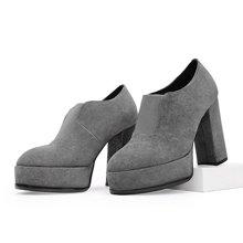 色非欧美新款时尚圆头羊京女短靴粗跟百搭高跟鞋