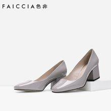 色非新款欧美时尚牛漆皮方头女粗跟简约百搭高单鞋