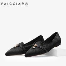 色非新款欧美时尚单鞋女平底尖头休闲百搭女鞋