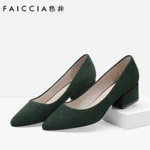 色非新款韩版休闲尖头女鞋粗跟羊京高跟鞋