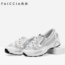 色非新款欧美时尚圆头女坡跟百搭休闲低帮鞋乐福鞋