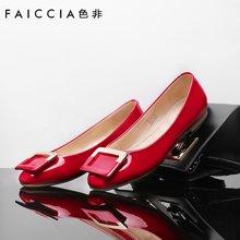 色非新款方扣单鞋女红色平底鞋欧美浅口平跟百搭女鞋夏