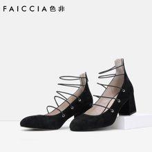 色非欧美新款方头女鞋休闲粗跟羊京高跟鞋