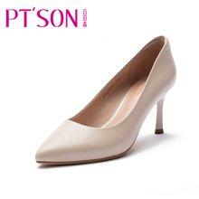 百田森女鞋 欧美羊皮单鞋 尖头细跟女士单鞋浅口女单鞋PYQ13021