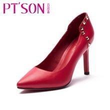 百田森 女鞋 欧美浅口羊皮单鞋 尖头细跟单鞋高跟女单鞋PYQ13018
