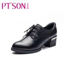 百田森新款中跟牛皮单鞋女英伦深口圆头系带粗跟女单鞋PYQ11025