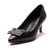 百田森 女鞋 浅口牛皮女士单鞋 通勤细跟单鞋尖头女单鞋PYQ13010