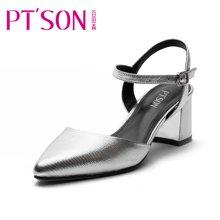 百田森 女鞋 欧美牛皮包头凉鞋 牛皮粗跟时尚女凉鞋PYQ13022