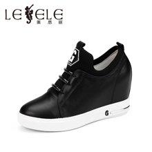 LESELE/莱思丽新款秋季绑带牛皮女鞋 内增高休闲鞋高跟深口单鞋BJ61-LC9037