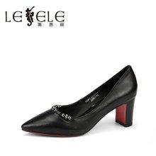 LESELE/莱思丽秋季职业牛皮女鞋 新款尖头水钻粗高跟浅口单鞋女FQ61-LC6094