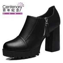 百年纪念 2016新女鞋单鞋女粗跟高跟鞋圆头鞋防水台女潮鞋子 bn/1143