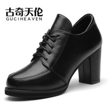 古奇天伦 2016新款深口皮鞋圆头防水台高跟女鞋粗跟单鞋子 TL/7885