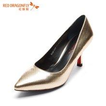 红蜻蜓女单鞋 2016新尖头浅口蛇纹牛皮高跟鞋女鞋 6103