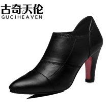 古奇天伦 2016新欧美皮鞋尖头深口高跟女鞋细跟单鞋 TL/8144
