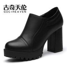 古奇天伦 2016新款深口单鞋粗跟高跟鞋防水台女士皮鞋女鞋子 TL/8142
