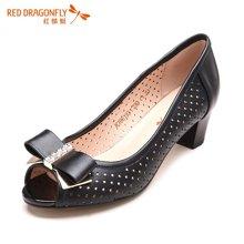 红蜻蜓女单鞋 中跟鱼嘴蝴蝶结优雅镂空女鞋 6195