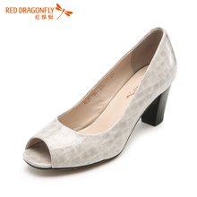 红蜻蜓女鞋2016新石纹粗跟高跟鱼嘴优雅职业女单鞋6196