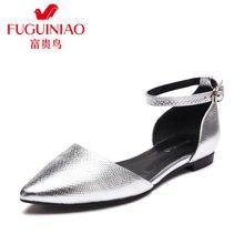 富贵鸟(FUGUINIAO)2016年头层牛皮尖头小方跟低跟女单鞋女鞋女侧空平底鞋 K67Y607C