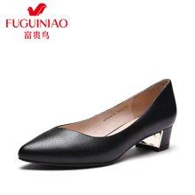 富贵鸟(FUGUINIAO)富贵鸟女鞋2016年春季新品头层牛皮尖头粗跟女浅口单鞋套脚鞋子 F67Y601C