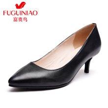 富贵鸟(FUGUINIAO) 羊皮单鞋 时尚细中跟尖头工作女鞋 F69M828K