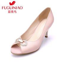 富贵鸟(FUGUINIAO)头层牛皮优雅女鞋 水钻韩版甜美鱼嘴鞋单鞋 K69M517C