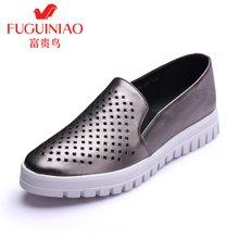富贵鸟(FUGUINIAO)时尚单鞋女乐福鞋小白鞋休闲鞋女韩版 R69D570C