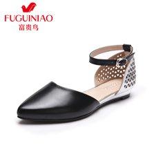 富贵鸟(FUGUINIAO)2016春季新款单鞋 女羊皮拼色尖头单鞋女鞋 女侧空时尚镂空鞋 K69M025C
