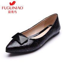 富贵鸟(FUGUINIAO)新品单鞋 时尚头层牛皮尖头舒适轻盈平底女单鞋女鞋 F69M001C