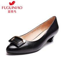 富贵鸟(FUGUINIAO)女鞋新品 头层羊皮俏丽尖头套脚女粗跟单鞋通勤工作鞋 F67Y614K