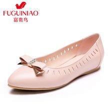 富贵鸟(FUGUINIAO)2016年新品单鞋 时尚头层牛皮尖头镂空平底女单鞋女鞋子 F69M087C